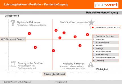 Kundenbefragungen Leistungsfaktoren-Portfolio